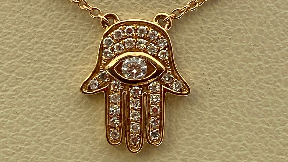 14K Rose Gold Khamsa Pendant with Diamonds