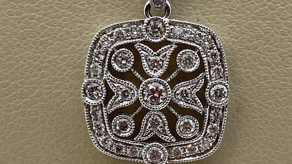 14K White Gold Square Pendant with Diamonds
