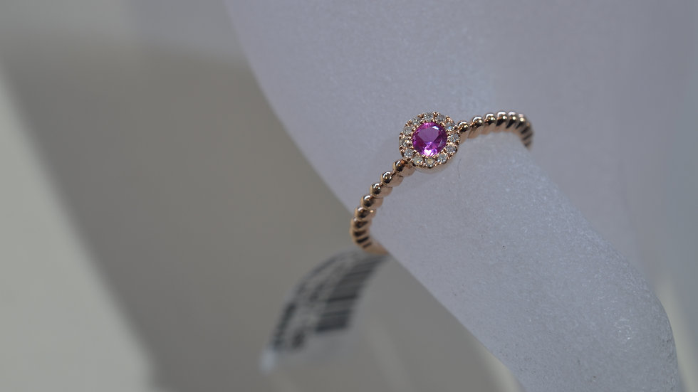 Stackable 14K Rose Gold Pink Topaz Ring with Diamonds