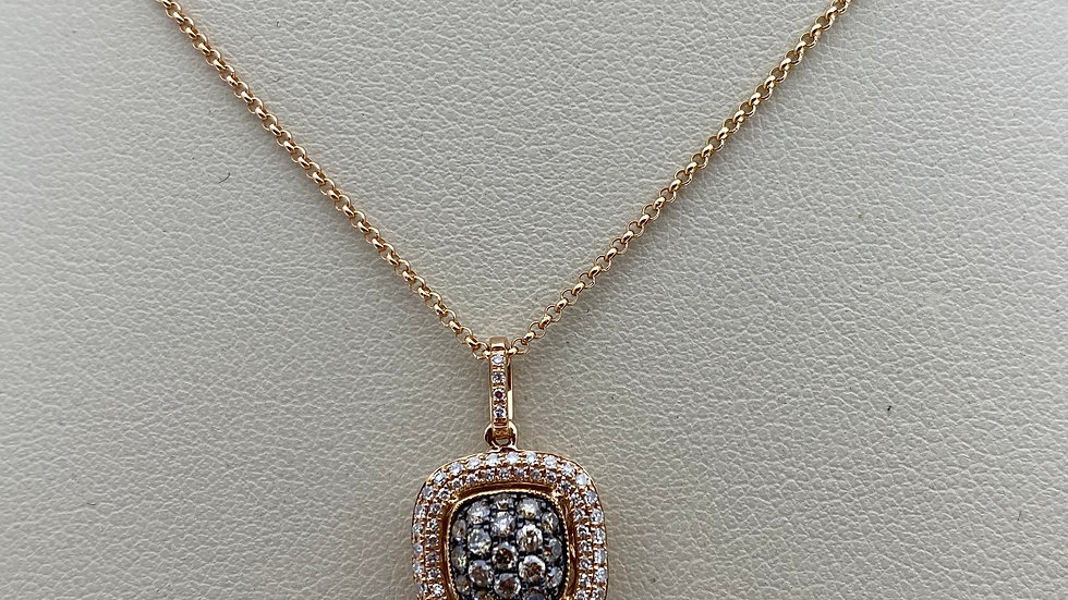 14K Rose Gold Square with Spherical Middle Pendant with Diamonds