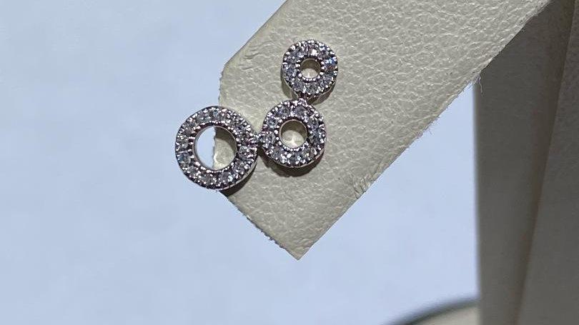 14K White Gold Pushback Earrings