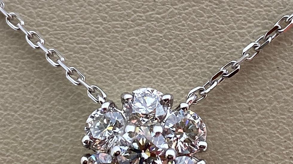 14K White Gold Flower Pendant with Diamonds