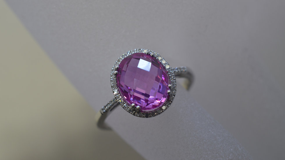 14K White Gold Pink Topaz Ring with Diamonds