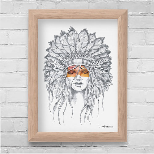 HEAD DRESS - Framed Canvas Print - 21 x 30 cm