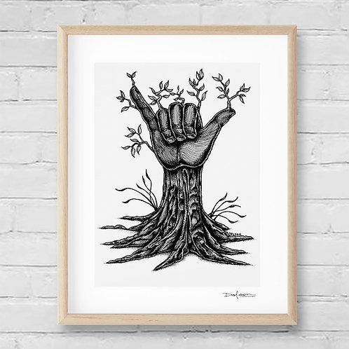 ALOHA TREE - Framed Canvas Print - 42 x 52 cm