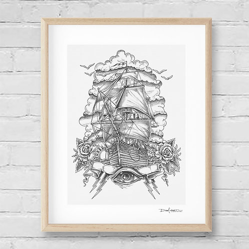 ROSE & ANCHOR - Framed Canvas Print - 32 x 42 cm