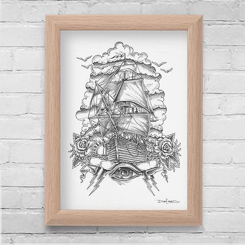 ROSE & ANCHOR - Framed Canvas Print - 21 x 30 cm