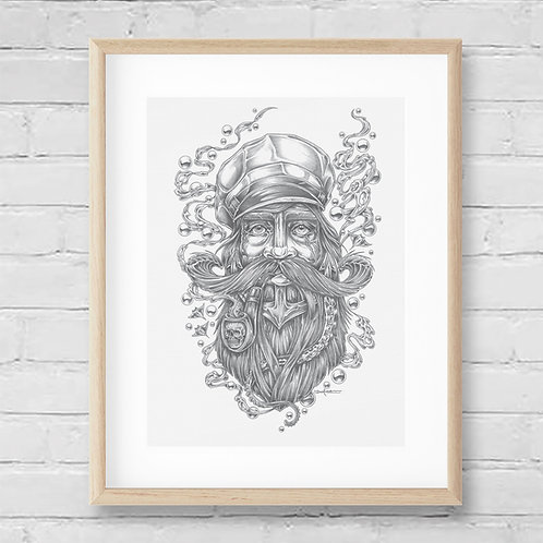 SEA CAPTAIN - Framed Canvas Print - 42 x 52 cm