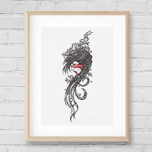 LUNA - Framed Washi Print - 42 x 52 cm