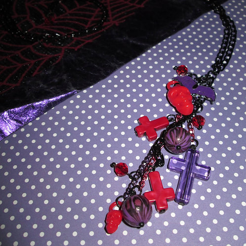 Ultra Long Red & Purple Leopard, Skull, Cross and Bat Necklace