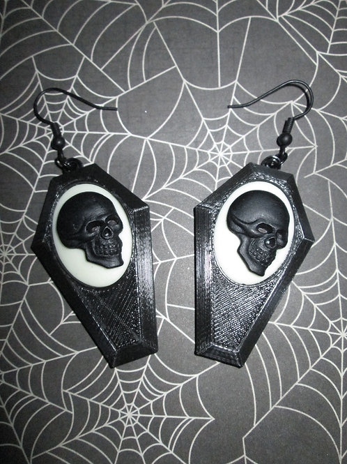 Small Black Coffin Earrings with Black and White Skull Cameos