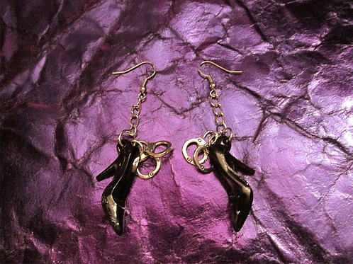Handcuffs and High Heels Fetish Earrings (Black)