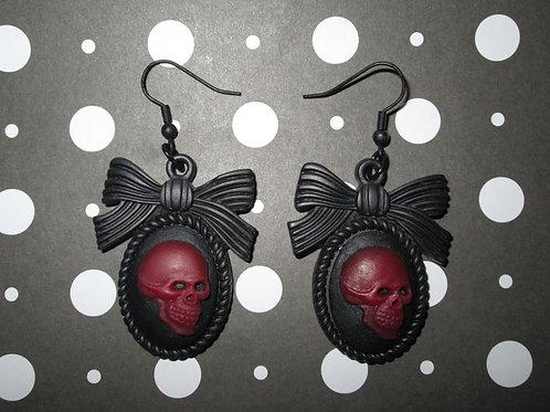 Burgundy & Black Gothic Lolita Skull Cameo Earrings with Bow Frames