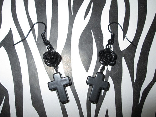 Small Black Rose Earrings with Small Black Crosses