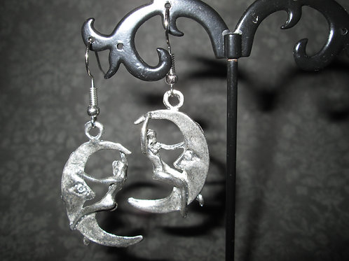 Crescent Moon Earrings with Skyclad Woman
