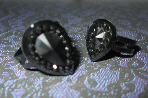 Black Teardrop Rhinestone Cabochon Ring with Black Base (Small or Large)