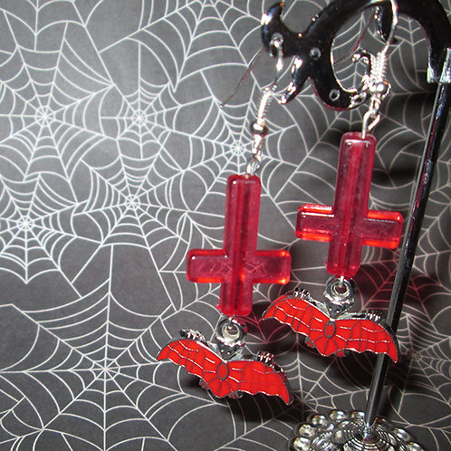 Bats and Inverted Cross Earrings (Red)