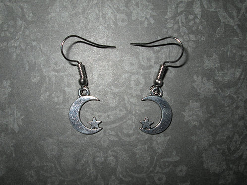 Small Crescent Moon and Star Earrings