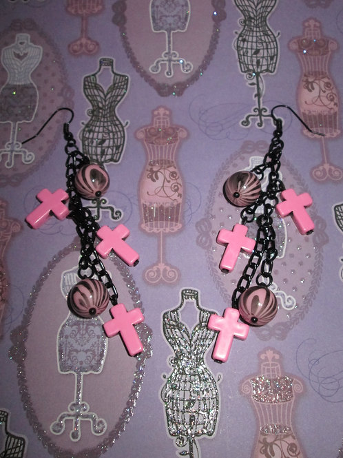 Pink and Black Zebra and Cross Earrings