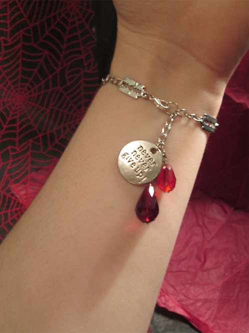 """Never Give Up"" Self-Harm Razor Blade and Blood Drops Bracelet"