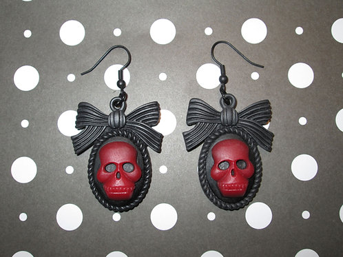Red & Black Gothic Lolita Skull Cameo Earrings with Bow Frames