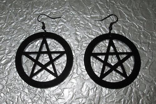 Large Black Acrylic Pentagram Earrings