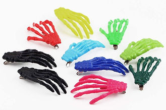 Colored skeleton hand hair clips