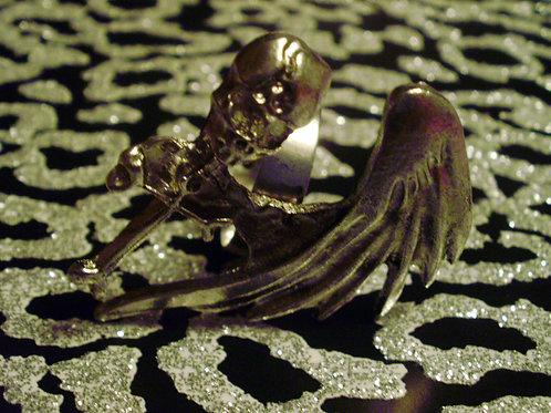 Angelic Skull Cross Ring (Silver)