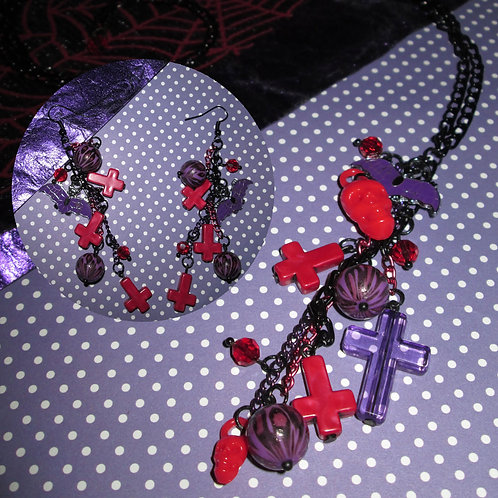 Ultra Long Red & Purple Leopard, Skull, Cross and Bat Necklace and Earrings Set