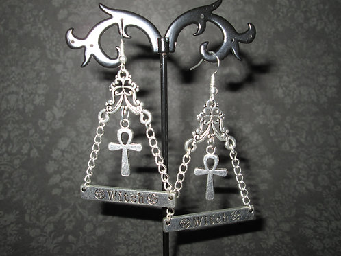 Occult Witch Pyramid Earrings with Ankh Pendants
