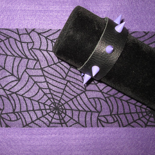 Black Leather Bracelet with Lavender Spikes