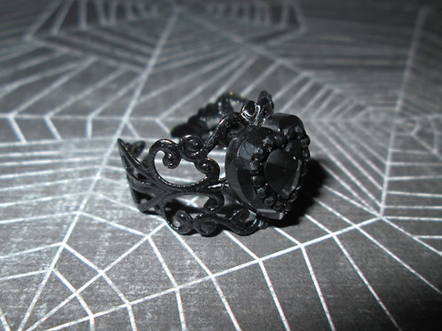 Black Heart Rhinestone Cabochon Ring with Black Filigree Base