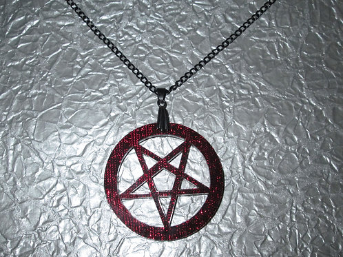 Red Acrylic Inverted Pentagram Necklace