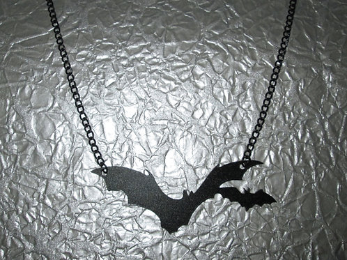 Black Acrylic Bat Necklace (Duo)