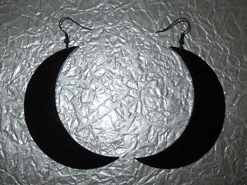 Large Black Acrylic Crescent Moon Earrings