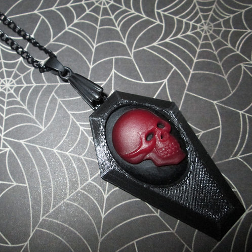 Small Black Coffin Necklace with Red and Black Skull Cameo