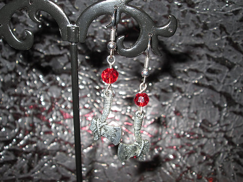 Axe Earrings with Blood Red Crystals
