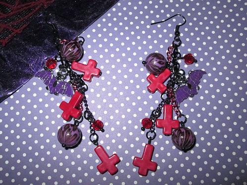 Red & Purple Leopard, Skull, Cross and Bat Earrings