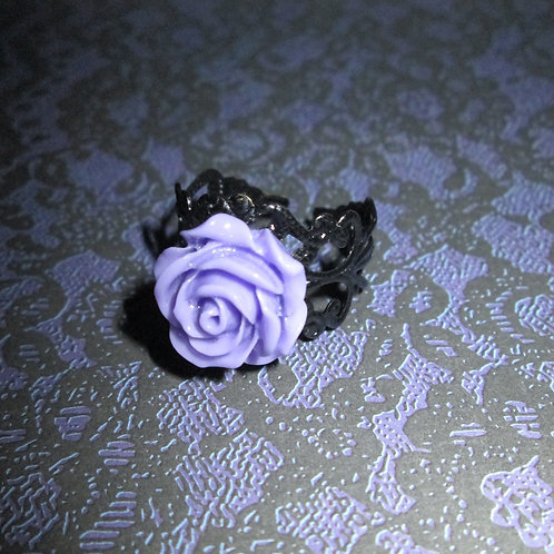 Lilac Rose Ring with Filigree Base