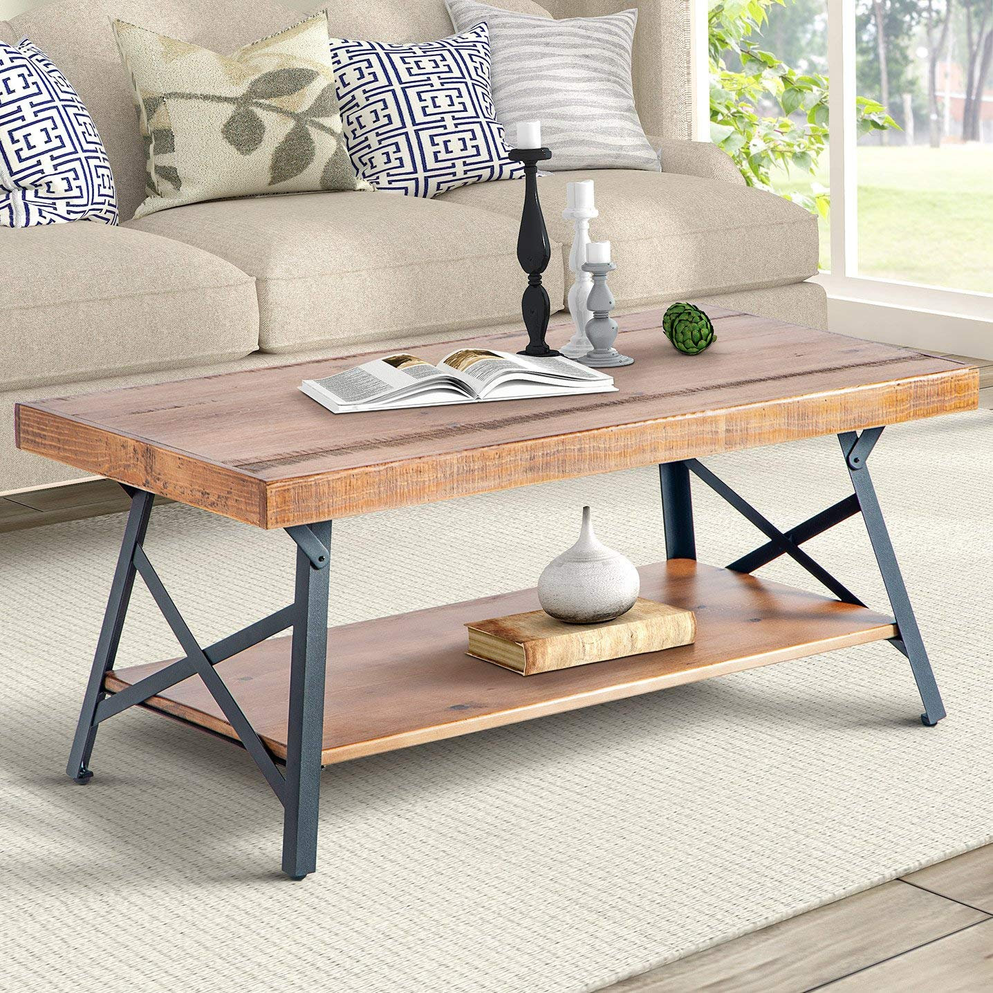 Rustic Brown Wood Coffee Table With Metal Legs