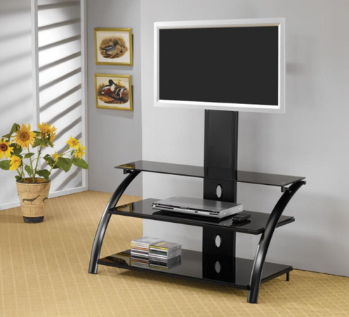 Black Metal Tempered Glass Tv Stand