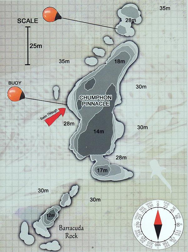 Карта дайвинг сайта Chumphon Pinnacle