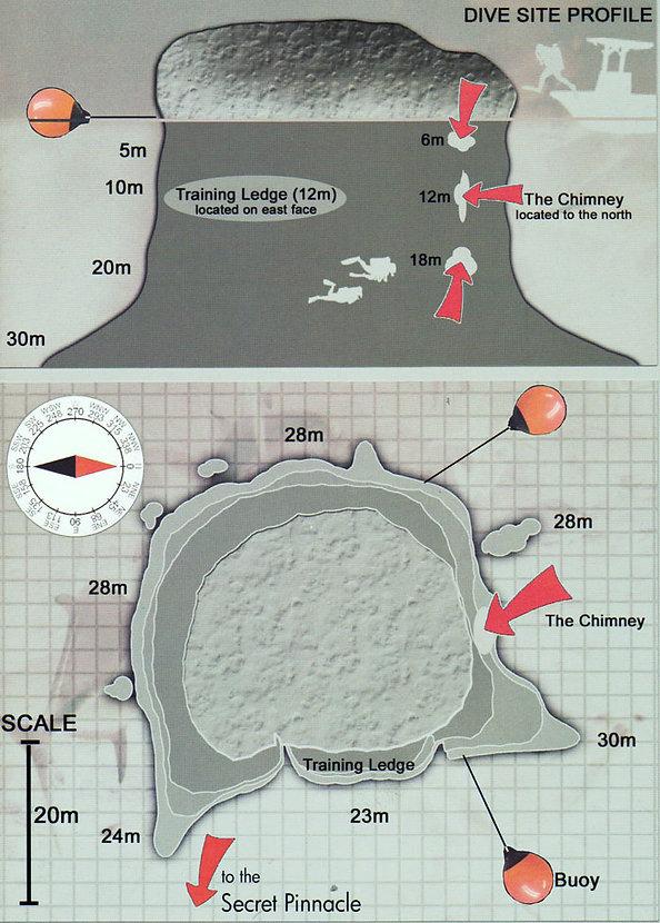 Карта дайвинг сайта Sail Rock