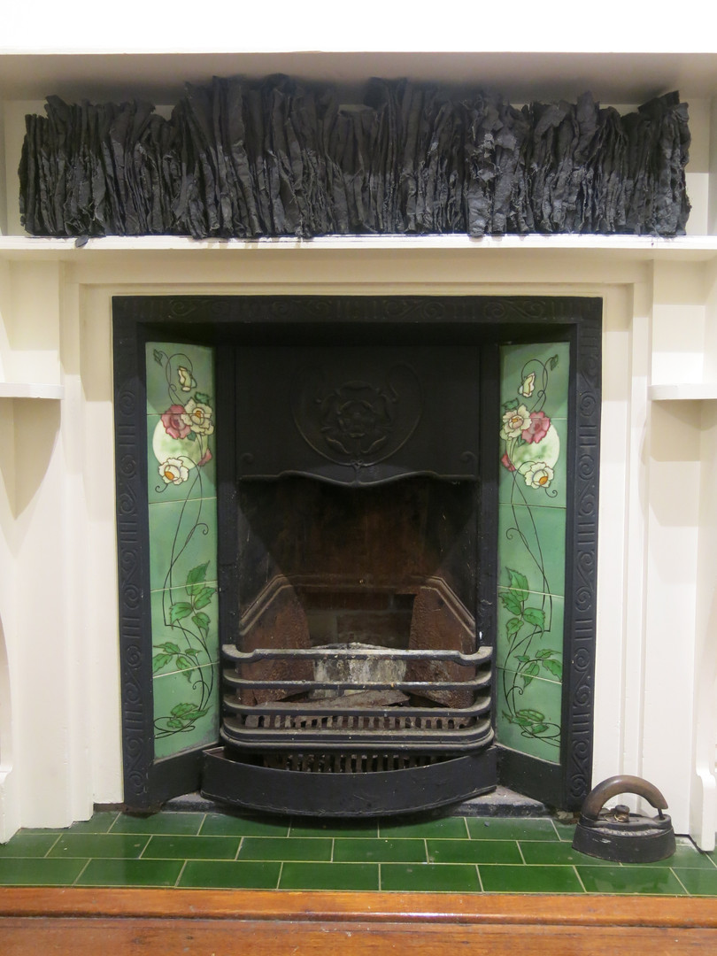 Green Fireplace, 2018, Fabric, cement, clay & iron oxide installation, 120x25x15cm