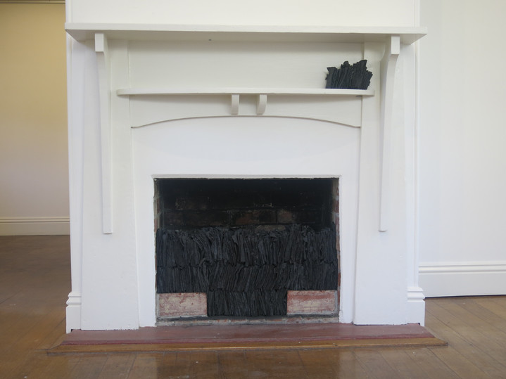 Schoolhouse Fireplace, 2018, Fabric, cement, clay & iron oxide installation, dimensions variable