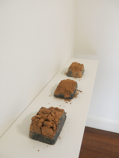 Decay Blocks, 2018, Cement, clay & iron oxide sculptures, 180x25x10cm