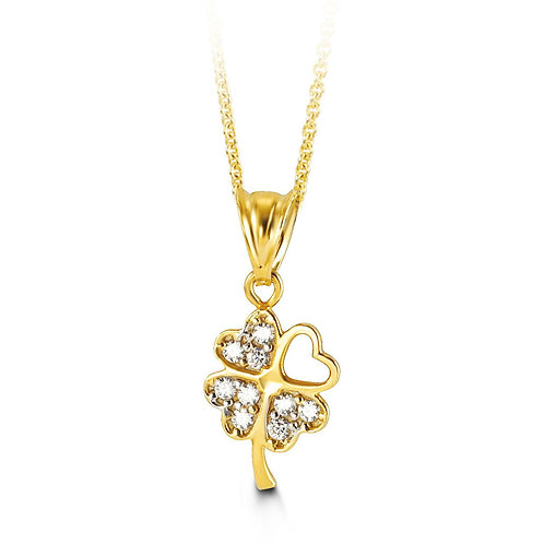 10kt Gold CZ Clover Pendant with Chain