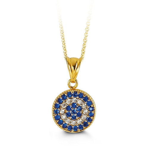 10kt Gold CZ Evil Eye Pendant with Chain