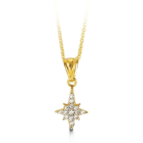10kt Gold CZ Star Pendant with Chain