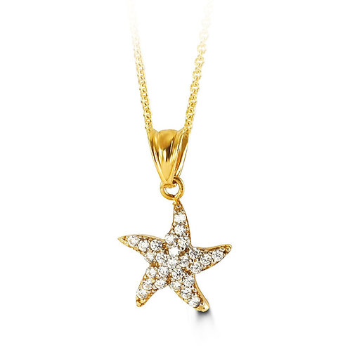 10kt Gold CZ Starfish Pendant with Chain